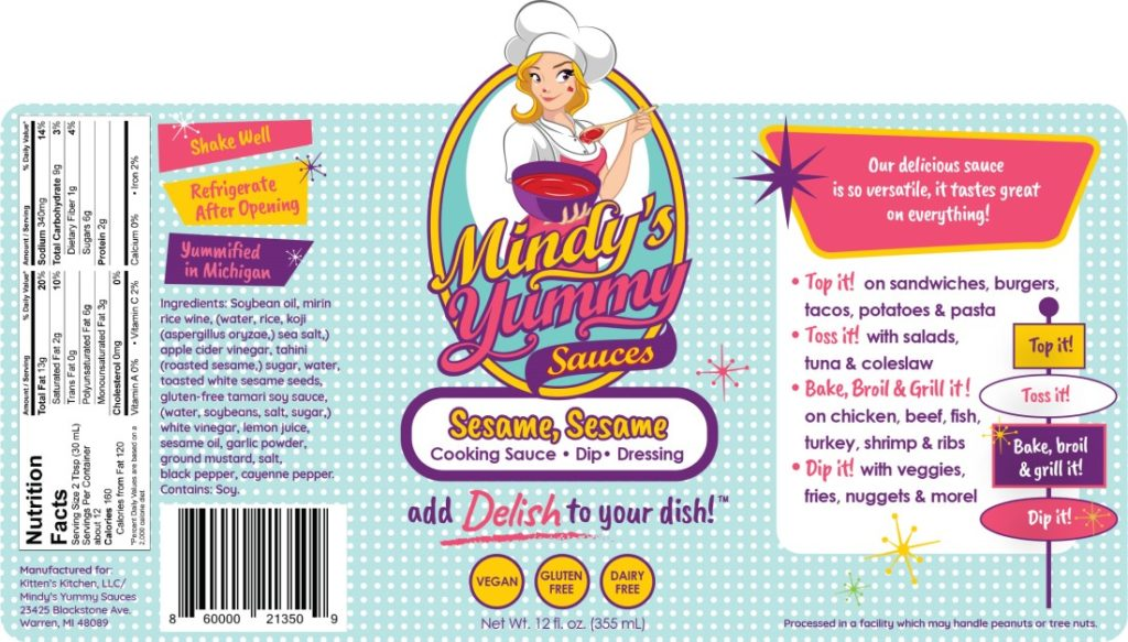 Mindy's Yummy Sauces label, West Bloomfield, Michigan