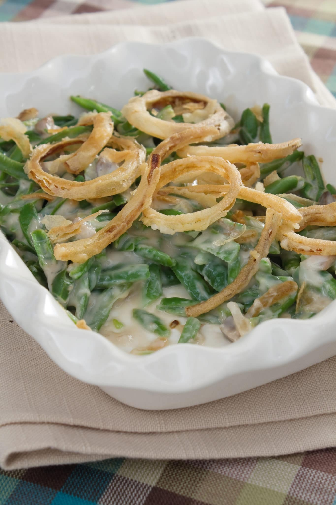 Photo of a delicious green bean casserole recipe, easy & fast with Mindy's Yummy Sauces.
